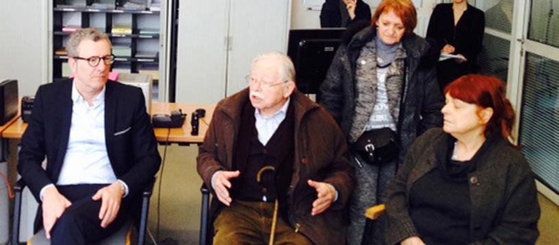 Yvan Mayeur, Jacques Van der Biest, Philomène Brisbois et Anne-Marie Appelmans lors de la conférence de presse du bourgmestre annonçant l'abandon du parking Jeu de Balle, en février 2015.